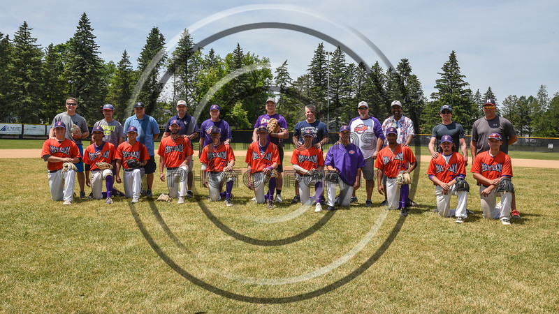 Cortland Crush players and their Fathers on Greg's Field at Beaudry Park in Cortland, New York on Sunday, June 17, 2018.