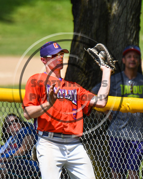 Cortland Crush Alex Flock (2) catches a pop fly in foul territory for an out against the Sherrill Silversmiths on Greg's Field at Beaudry Park in Cortland, New York on Sunday, June 17, 2018. Cortland won 8-6.