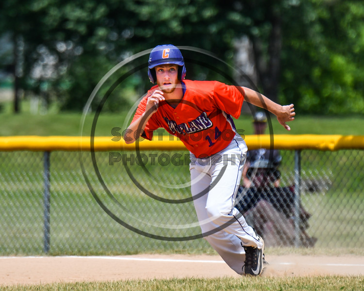Cortland Crush Dylan Ketch (14) running the bases against the Sherrill Silversmiths on Greg's Field at Beaudry Park in Cortland, New York on Sunday, June 17, 2018. Cortland won 8-6.