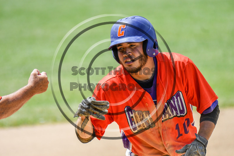 Cortland Crush Nelson Laviosa (10) after making it to 3rd Base against the Sherrill Silversmiths on Greg's Field at Beaudry Park in Cortland, New York on Sunday, June 17, 2018. Cortland won 8-6.
