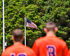Cortland Crush players stand for the National Anthem on Greg's Field at Beaudry Park in Cortland, New York on Sunday, June 17, 2018.