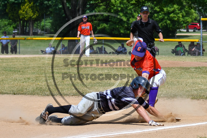 Cortland Crush Tyler McKeon (7) tags out the Sherrill Silversmiths player at 3rd Base on Greg's Field at Beaudry Park in Cortland, New York on Sunday, June 17, 2018. Cortland won 8-6.