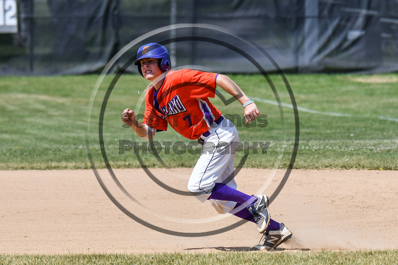 Cortland Crush Tyler McKeon (7) running the bases against the Sherrill Silversmiths on Greg's Field at Beaudry Park in Cortland, New York on Sunday, June 17, 2018. Cortland won 8-6.