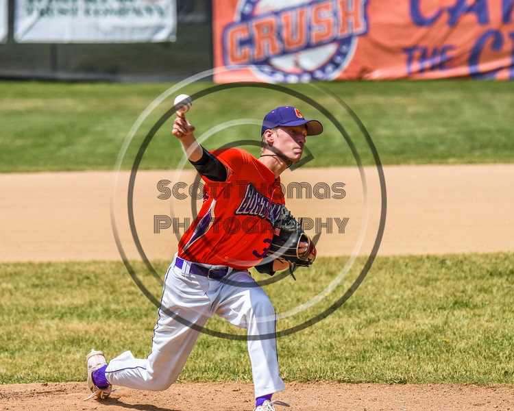 Cortland Crush Logan Persse (36) pitching against the Sherrill Silversmiths on Greg's Field at Beaudry Park in Cortland, New York on Sunday, June 17, 2018. Cortland won 8-6.