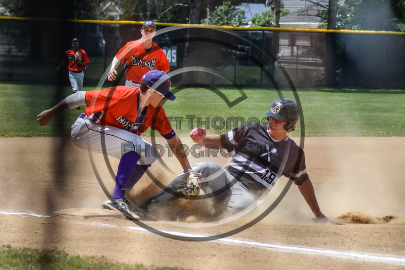 Cortland Crush Tyler McKeon (7) tags out Sherrill Silversmiths Matt Krause (19) at 3rd Base on Greg's Field at Beaudry Park in Cortland, New York on Sunday, June 17, 2018. Cortland won 8-6.