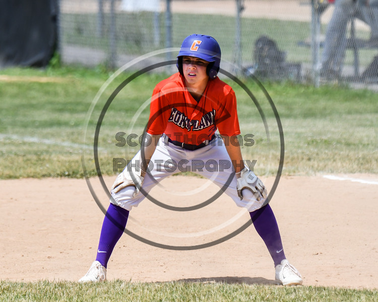 Cortland Crush Anthony Cieszko (3) on base against the Sherrill Silversmiths on Greg's Field at Beaudry Park in Cortland, New York on Sunday, June 17, 2018. Cortland won 8-6.