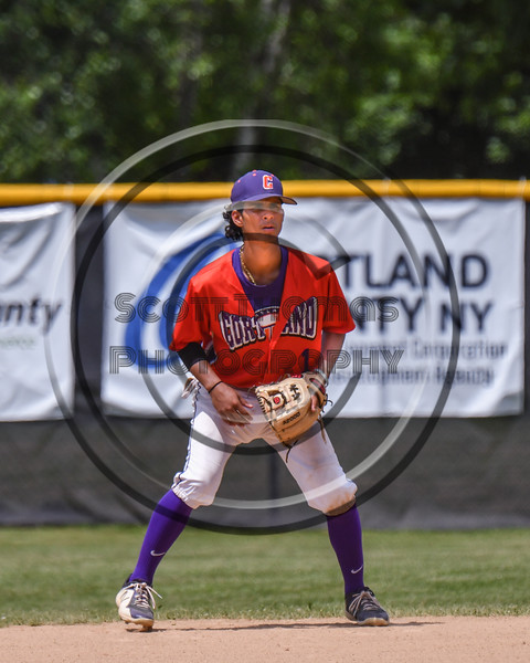 Cortland Crush Iset Maldonado (1) playing 2nd Base against the Sherrill Silversmiths on Greg's Field at Beaudry Park in Cortland, New York on Sunday, June 17, 2018. Cortland won 8-6.