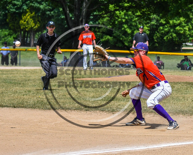 Cortland Crush Tyler McKeon (7) about to catch the ball against the Sherrill Silversmiths on Greg's Field at Beaudry Park in Cortland, New York on Sunday, June 17, 2018. Cortland won 8-6.