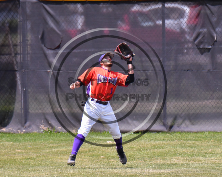 Cortland Crush Nelson Laviosa (10) catching the ball in Center Field against the Sherrill Silversmiths on Greg's Field at Beaudry Park in Cortland, New York on Sunday, June 17, 2018. Cortland won 8-6.