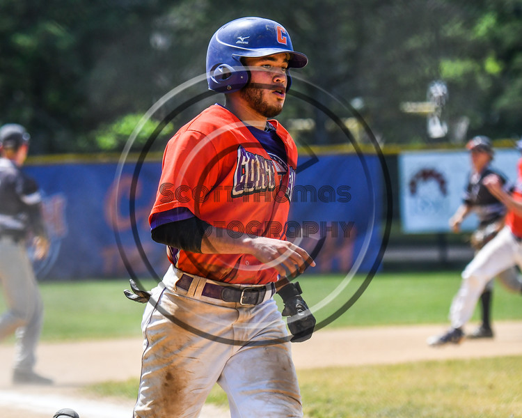 Cortland Crush Nelson Laviosa (10) scores a run against the Sherrill Silversmiths on Greg's Field at Beaudry Park in Cortland, New York on Sunday, June 17, 2018. Cortland won 8-6.