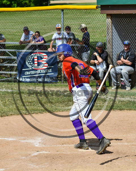 Cortland Crush Nelson Laviosa (10) tosses his bat after being walked against the Sherrill Silversmiths on Greg's Field at Beaudry Park in Cortland, New York on Sunday, June 17, 2018. Cortland won 8-6.