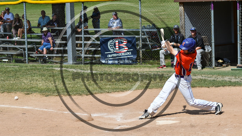 Cortland Crush Dylan Ketch (14) hits the ball against the Sherrill Silversmiths on Greg's Field at Beaudry Park in Cortland, New York on Sunday, June 17, 2018. Cortland won 8-6.