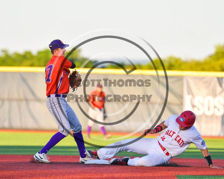 Cortland Crush Jimmy Tatum (17) turning a Double Play against the Syracuse Salt Cats at OCC Turf Field in Syracuse, New York on Thursday, June 21, 2018. Syracuse won 6-2.