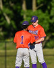 Cortland Crush Iset Maldonado (1) talking with Pitcher Brian Wojichowski (38) at OCC Turf Field in Syracuse, New York on Thursday, June 21, 2018. Syracuse won 6-2.