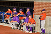 Cortland Crush coaches and players watching the game against the Syracuse Salt Cats from the dugout at OCC Turf Field in Syracuse, New York on Thursday, June 21, 2018. Syracuse won 6-2.