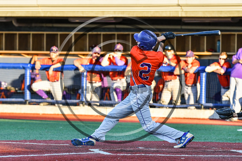 Cortland Crush Alex Flock (2) after hitting the ball against the Syracuse Salt Cats at OCC Turf Field in Syracuse, New York on Thursday, June 21, 2018. Syracuse won 6-2.