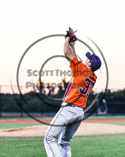 Cortland Crush Zach Kelley (33) catching a foul ball for an out against the Syracuse Salt Cats at OCC Turf Field in Syracuse, New York on Thursday, June 21, 2018. Syracuse won 6-2.