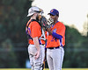 Cortland Crush Catcher Garrett Hunter (40) talks with Pitcher Shane Epps (24) on the mound against the Syracuse Salt Cats at OCC Turf Field in Syracuse, New York on Thursday, June 21, 2018. Syracuse won 6-2.