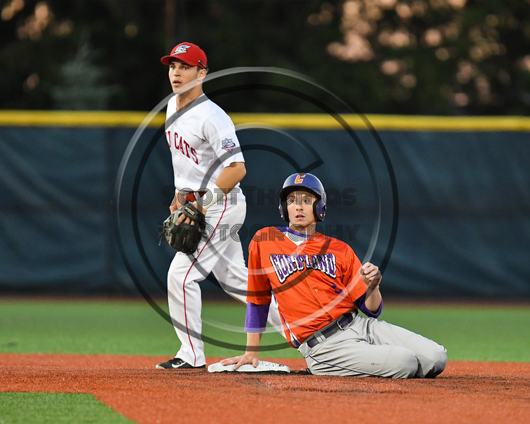 Cortland Crush Alex Flock (2) after getting out at 2nd Base against the Syracuse Salt Cats at OCC Turf Field in Syracuse, New York on Thursday, June 21, 2018. Syracuse won 6-2.