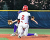Cortland Crush Jimmy Tatum (17) fielding the throw as Syracuse Salt Cats Michael DeFusco (2) slides into 2nd Base at OCC Turf Field in Syracuse, New York on Thursday, June 21, 2018. Syracuse won 6-2.