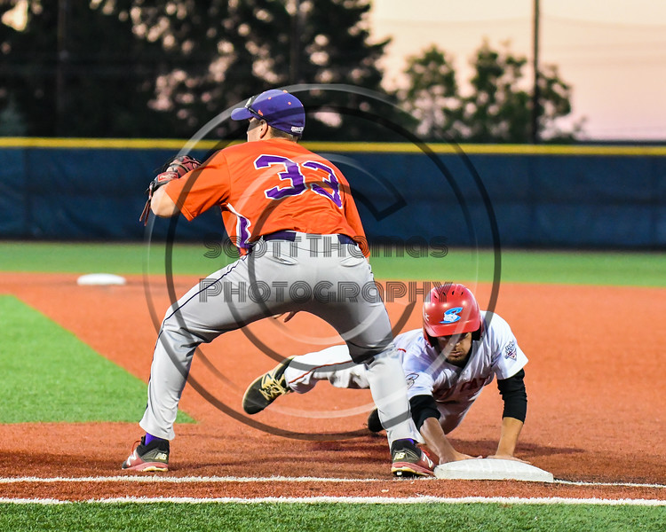 Cortland Crush Zach Kelley (33) playing 1st Base against the Syracuse Salt Cats at OCC Turf Field in Syracuse, New York on Thursday, June 21, 2018. Syracuse won 6-2.