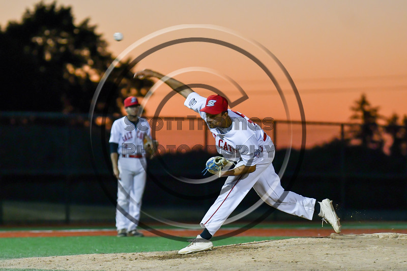 Syracuse Salt Cats Ian Foggo (17) pitching against the Cortland Crush at OCC Turf Field in Syracuse, New York on Thursday, June 21, 2018. Syracuse won 6-2.