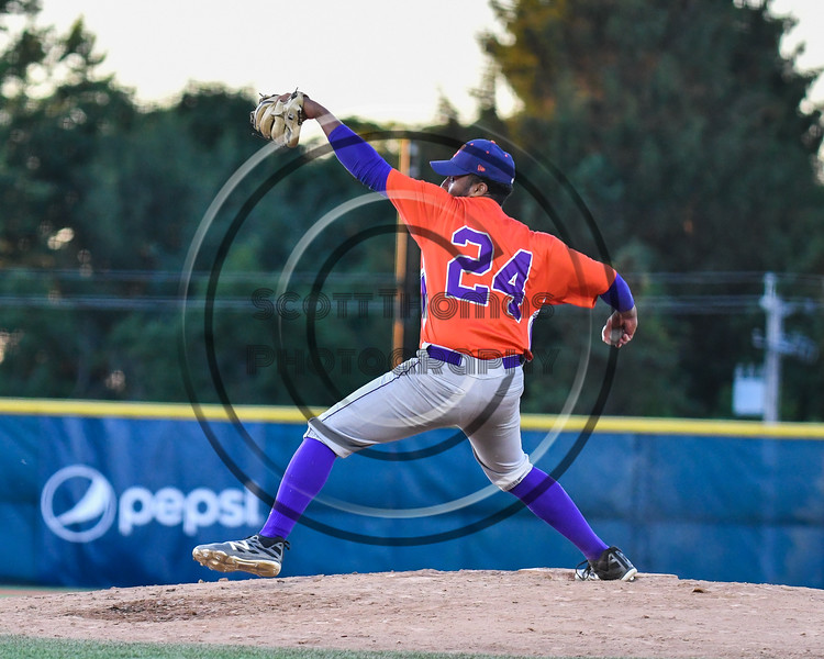 Cortland Crush Shane Epps (24) pitching against the Syracuse Salt Cats at OCC Turf Field in Syracuse, New York on Thursday, June 21, 2018. Syracuse won 6-2.