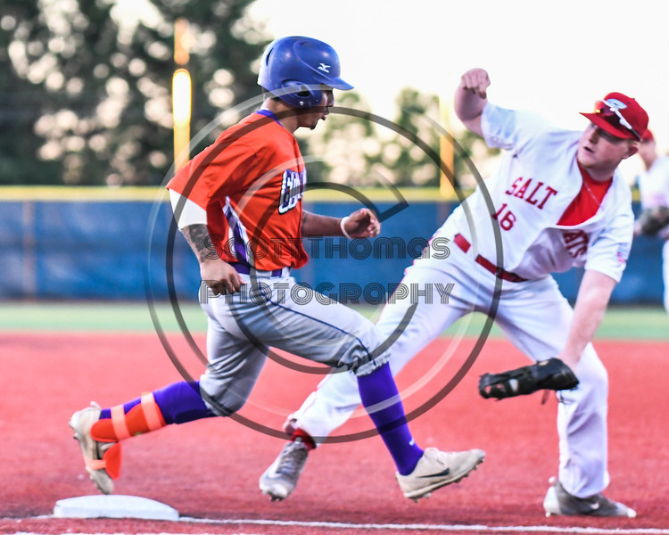 Cortland Crush Julio Creazzola (11) safely gets to 1st Base against the Syracuse Salt Cats at OCC Turf Field in Syracuse, New York on Thursday, June 21, 2018. Syracuse won 6-2.