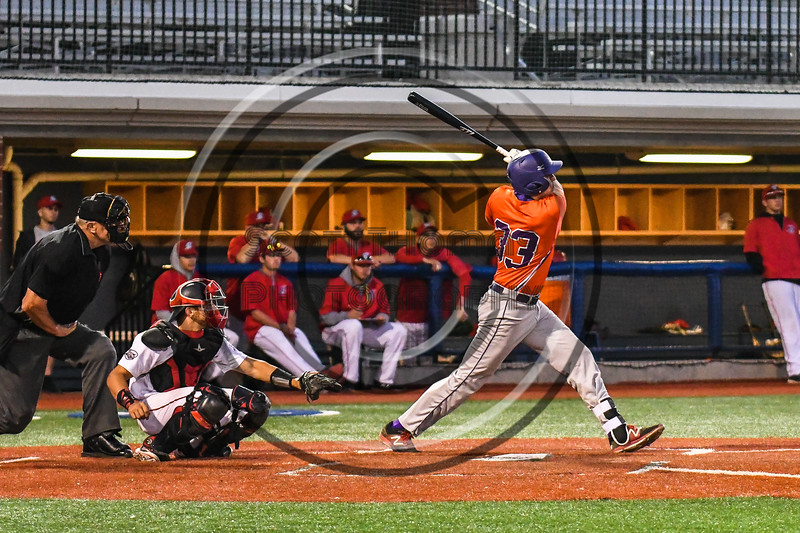 Cortland Crush Zach Kelley (33) after getting a hit against the Syracuse Salt Cats at OCC Turf Field in Syracuse, New York on Thursday, June 21, 2018. Syracuse won 6-2.