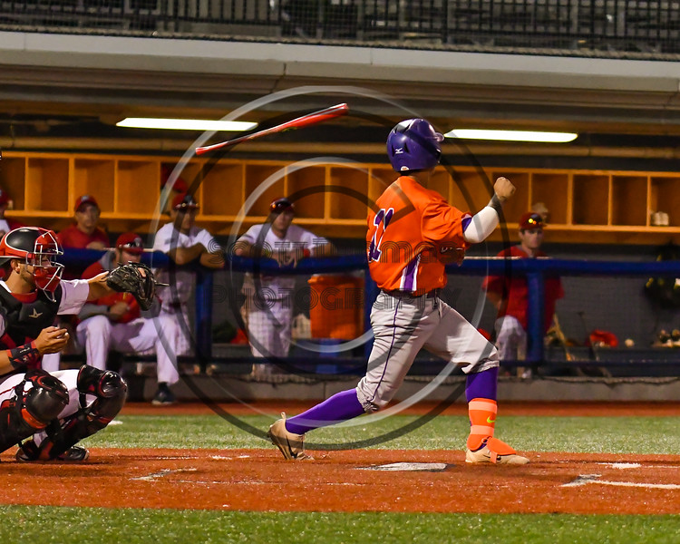 Cortland Crush Julio Creazzola (11) looses his bat after taking a swing against the Syracuse Salt Cats at OCC Turf Field in Syracuse, New York on Thursday, June 21, 2018. Syracuse won 6-2.