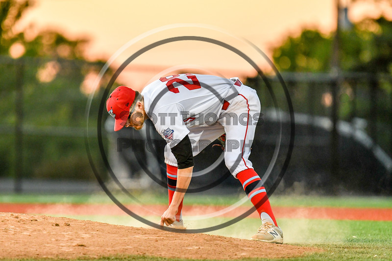 Syracuse Salt Cats Zach Soder (29) pitching against the Cortland Crush at OCC Turf Field in Syracuse, New York on Thursday, June 21, 2018. Syracuse won 6-2.