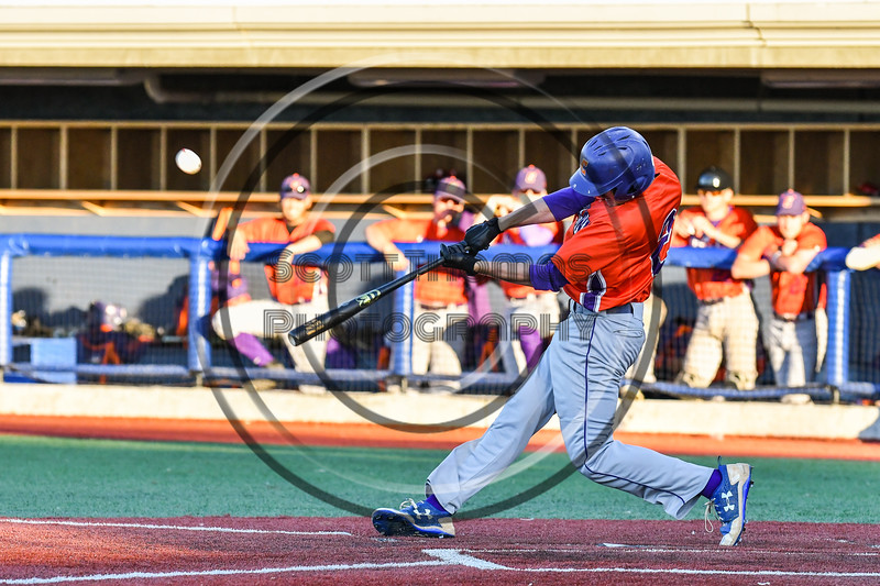Cortland Crush Alex Flock (2) hits the ball against the Syracuse Salt Cats at OCC Turf Field in Syracuse, New York on Thursday, June 21, 2018. Syracuse won 6-2.