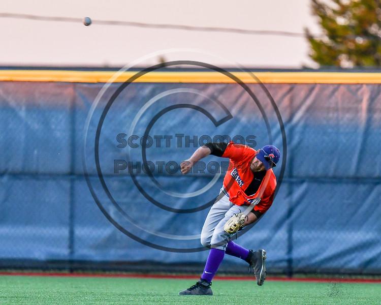 Cortland Crush Nelson Laviosa (10) throwing the ball against the Syracuse Salt Cats at OCC Turf Field in Syracuse, New York on Thursday, June 21, 2018. Syracuse won 6-2.
