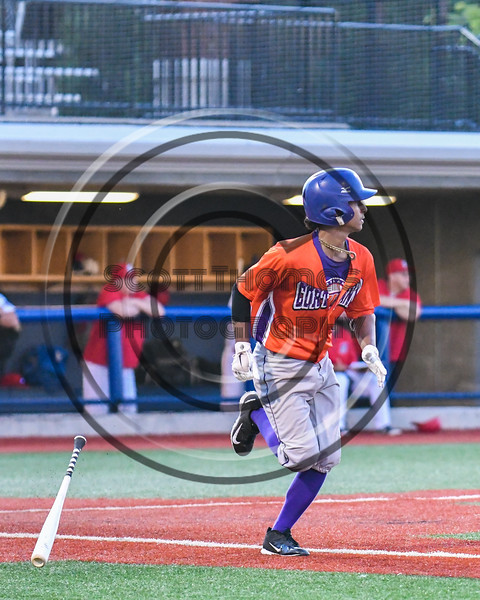 Cortland Crush Iset Maldonado (1) drops his bat on the way to 1st Base against the Syracuse Salt Cats at OCC Turf Field in Syracuse, New York on Thursday, June 21, 2018. Syracuse won 6-2.