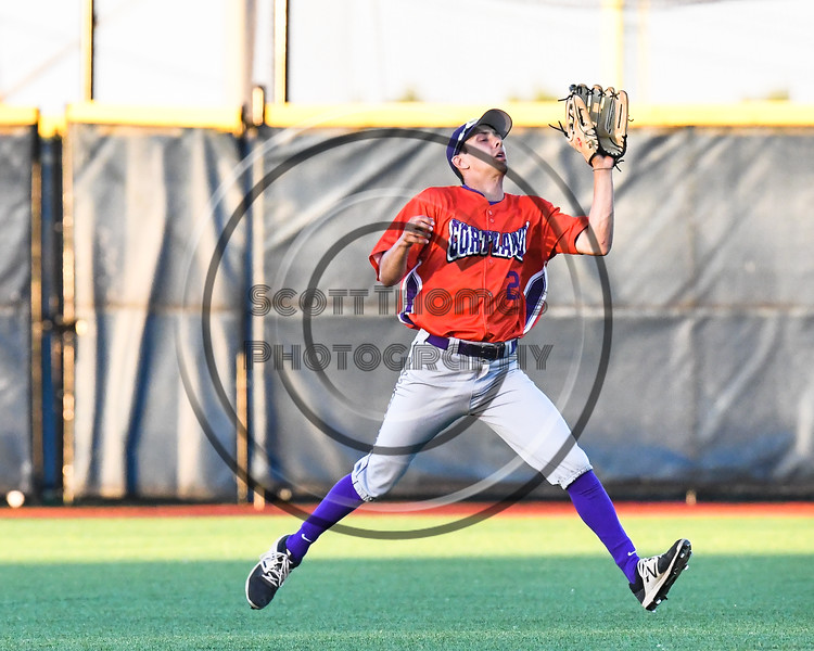 Cortland Crush Joe Palmo (21) about to catch the ball against the Syracuse Salt Cats at OCC Turf Field in Syracuse, New York on Thursday, June 21, 2018. Syracuse won 6-2.