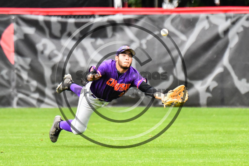 Cortland Crush Center Fielder Nelson Laviosa (10) lays out to catch the ball for an out against the Rome Generals on Wallace Field in Cortland, New York on Sunday, June 23, 2018. Cortland won 14-5.