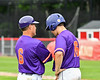Cortland Crush Head Coach Bill McConnell (6) having a word with Alex Babcock (16) during the game against the Rome Generals on Wallace Field in Cortland, New York on Sunday, June 23, 2018. Cortland won 14-5.