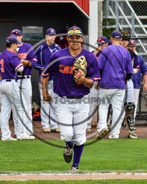 Cortland Crush Joe Palmo (21) being introduced before playing the Rome Generals on Wallace Field in Cortland, New York on Sunday, June 23, 2018.
