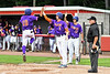 Cortland Crush Nelson Laviosa (10) is congratulated by Alex Flock (2) and Jimmy Tatum (17) after scoring a run against the Rome Generals on Wallace Field in Cortland, New York on Sunday, June 23, 2018. Cortland won 14-5.