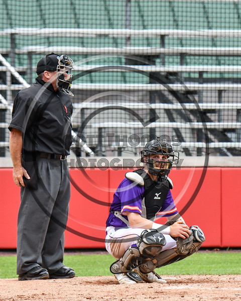 Cortland Crush Catcher Justin Valentino (15) behind the Home Plate against the Rome Generals on Wallace Field in Cortland, New York on Sunday, June 23, 2018. Cortland won 14-5.