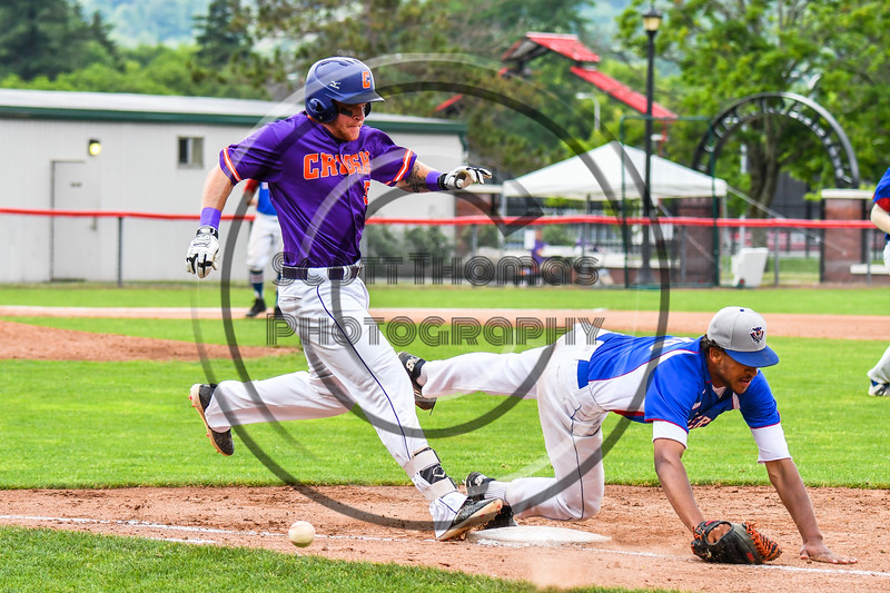 Cortland Crush Hayden Houts (5) is safe at 1st Base against the Rome Generals on Wallace Field in Cortland, New York on Sunday, June 23, 2018. Cortland won 14-5.