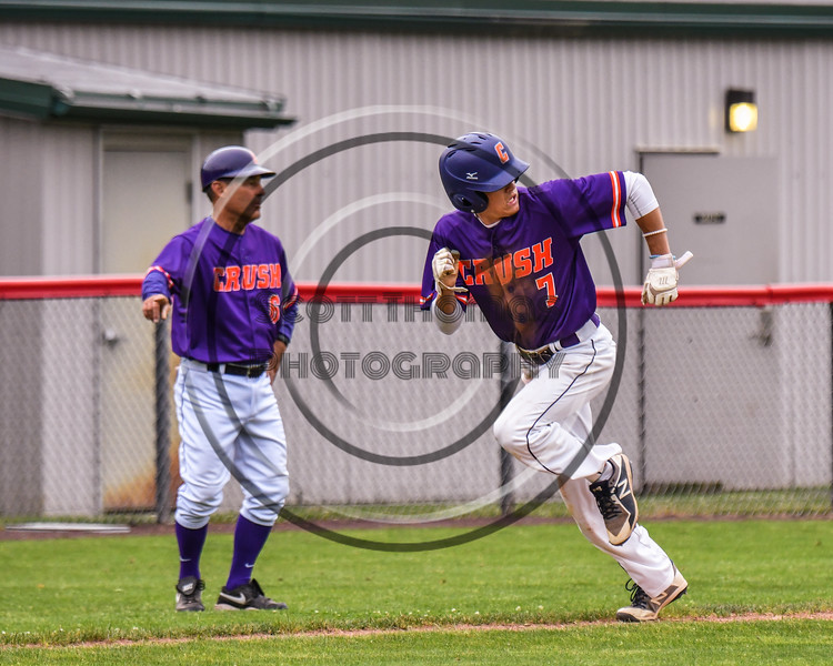 Cortland Crush Tyler McKeon (7) heading for Home to socre a run against the Rome Generals on Wallace Field in Cortland, New York on Sunday, June 23, 2018. Cortland won 14-5.