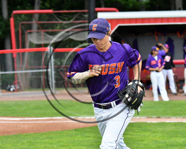 Cortland Crush Anthony Cieszko (3) being introduced before playing the Rome Generals on Wallace Field in Cortland, New York on Sunday, June 23, 2018.