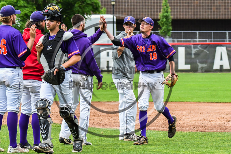 Cortland Crush Jonathan Triesler (19) celebrates the win over the Rome Generals on Wallace Field in Cortland, New York on Sunday, June 23, 2018. Cortland won 14-5.