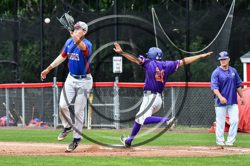 Cortland Crush Joe Palmo (21) beats the throw to 1st Base against the Rome Generals on Wallace Field in Cortland, New York on Sunday, June 23, 2018. Cortland won 14-5.