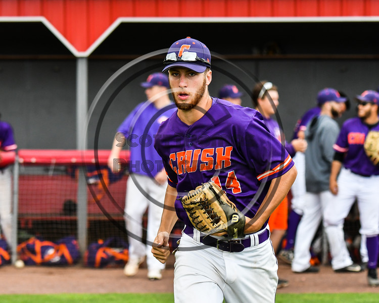 Cortland Crush Dylan Ketch (14) being introduced before playing the Rome Generals on Wallace Field in Cortland, New York on Sunday, June 23, 2018.