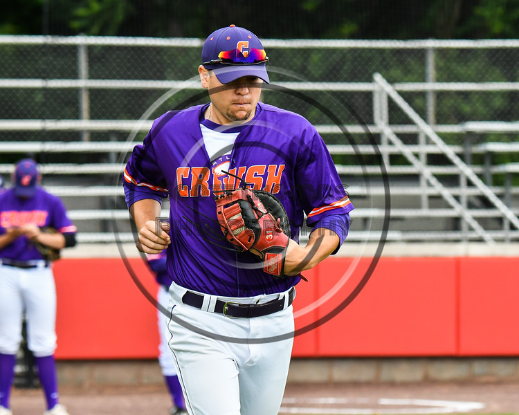 Cortland Crush Zach Kelley (33) being introduced before playing the Rome Generals on Wallace Field in Cortland, New York on Sunday, June 23, 2018.