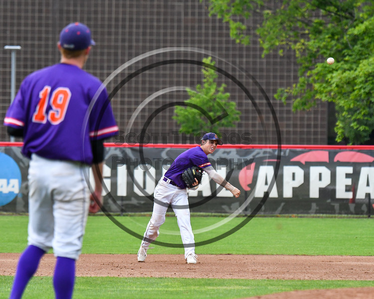 Cortland Crush Anthony Cieszko (3) throwing the ball for the last out against the Rome Generals on Wallace Field in Cortland, New York on Sunday, June 23, 2018. Cortland won 14-5.