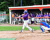 Cortland Crush Hayden Houts (5) hits the ball against the Rome Generals on Wallace Field in Cortland, New York on Sunday, June 23, 2018. Cortland won 14-5.