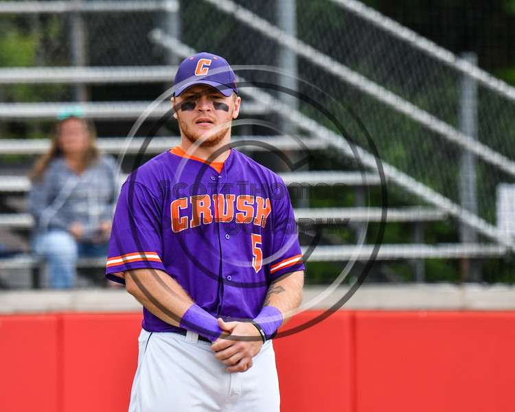 Cortland Crush Hayden Houts (5) being introduced before playing the Rome Generals on Wallace Field in Cortland, New York on Sunday, June 23, 2018.